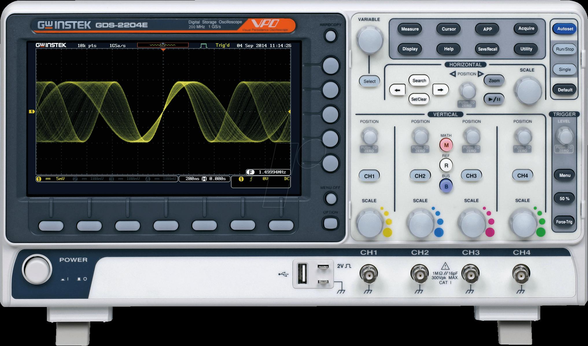 GwInstek Digital 4- Channel Oscilloscope GDS-2204E